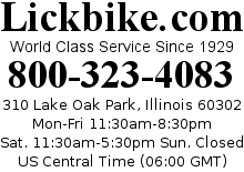 Lickbike.com - Call 800-323-4083, In Illinois Call 708-383-2130